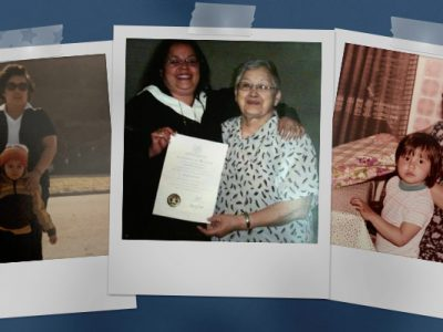 Three pictures of Jaimie and her Grandmother