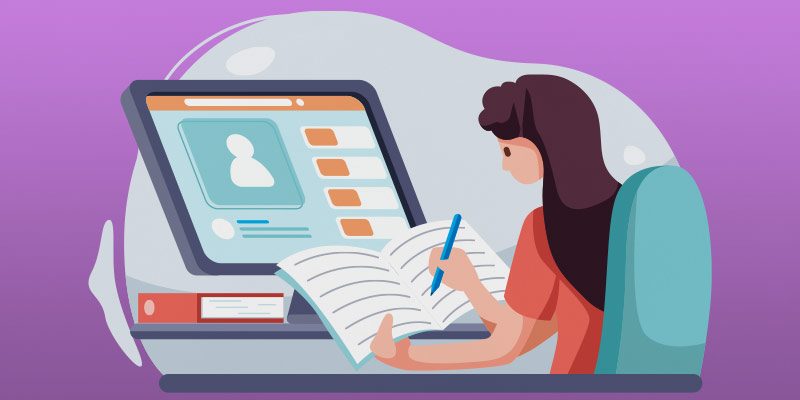 Illustration of woman learning at computer